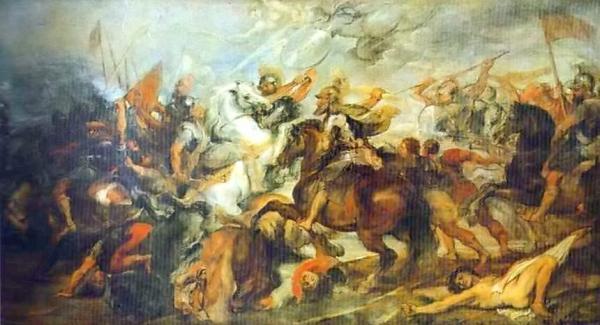 鲁本斯作品,《伊夫里之战中的亨利四世》。1590年的伊夫里之战是法国宗教战争中的一个重要战役;此役的胜利替新教徒亨利四世确立了王位,波旁王朝随即开始。