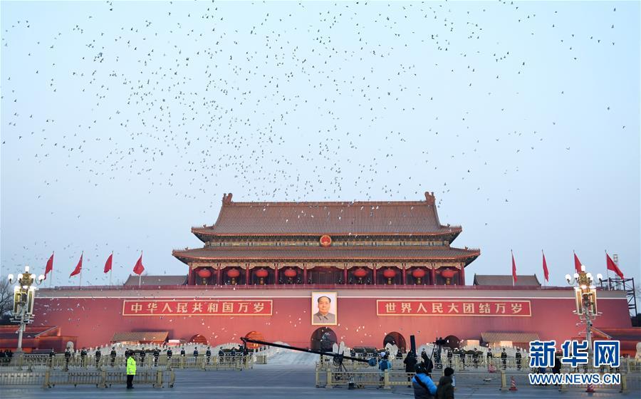 1月1日晨,天安门广场放飞和平鸽。新华社记者 鞠焕宗
