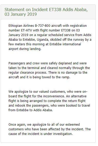 图:埃塞俄比亚航空声明 图片来源:埃塞俄比亚航空推特