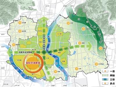 """顺义区规划重点为""""一港、两轴、三带、众点""""。"""