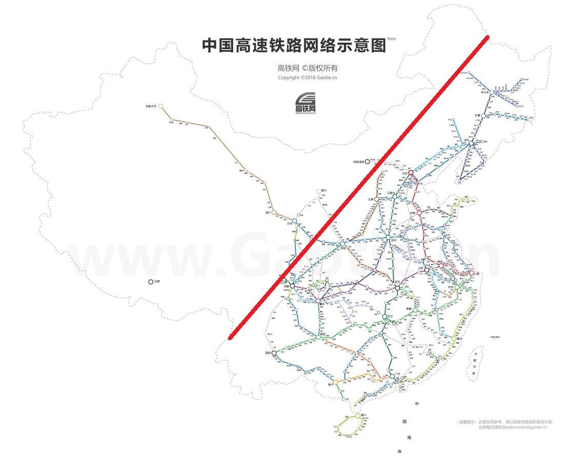 """中国高铁线路网络和""""黑河―腾冲人口线""""示意图,底图来自高铁网"""