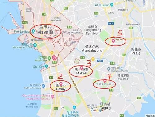 (大马尼拉由17个市组成,发展比较好的区域在图中画圈的5个地方)