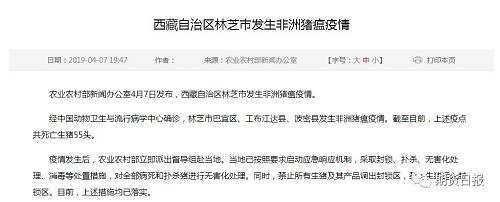 """农业农村部新闻办公室4月7日发布,西藏自治区林芝市巴宜区、工布江达县、波密县发生非洲猪瘟疫情,上述疫点共死亡生猪55头。据了解,这是西藏自治区首次发生非洲猪瘟疫情,当前疫情已经波及30个省份。至此,除港澳台地区和海南省以外,我国内地已有30个省份遭遇疫情""""侵袭""""。"""