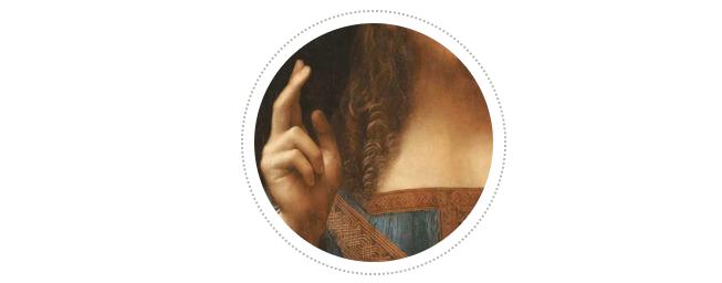 耶稣的右手呼之欲出,因为当时列奥纳多正在研究眼睛聚焦的光学原理,他知道可以通过让前景中的物体更加清晰,来制造立体的景深错觉。基督右手的两根手指离我们最近,所以轮廓也更加明晰。列奥纳多一直对手势非常着迷,手势是意大利人日常表达的一部分,列奥纳多曾在笔记本上绘制过各种各样的手势,《最后的晚餐》中每个人的手势都与他们的内心情感紧密呼应。