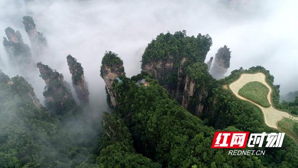 5月25日,在张家界武陵源风景区天子山拍摄的空中田园美景.