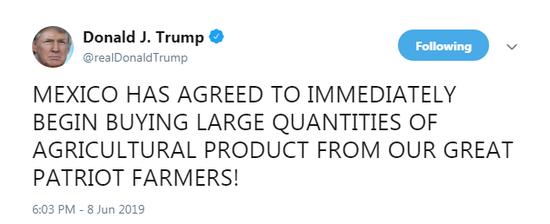 但是,美国国务院周五晚间发表的公报《美墨联合声明》并没有提及农业贸易作为协议的一部分。
