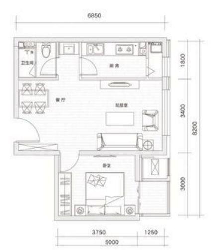 65㎡一室两厅一卫户型图