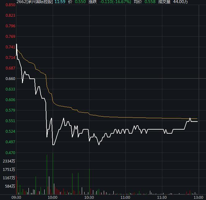"""承兴国际控股盘中再跌近30% 此前实控人被刑拘引""""连环"""