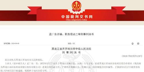 黑龙江讷河农商行员工诈骗数百万获刑20年 所得钱款用来网赌与挥霍