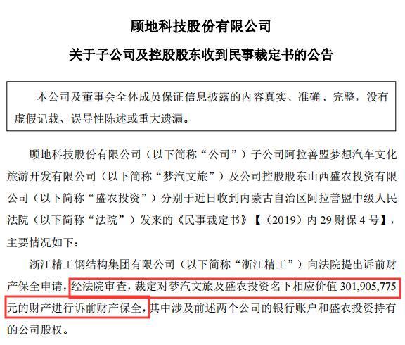 顾地科技控股股东及子公司3.02亿财产被申请诉前保全 7家子公司亏损3886万个别公司被停产