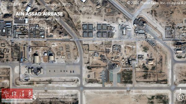 原料图片:卫星照片表现阿萨德空军基地遭伊朗导弹损坏情况。(美国全国公共广播电台网站)