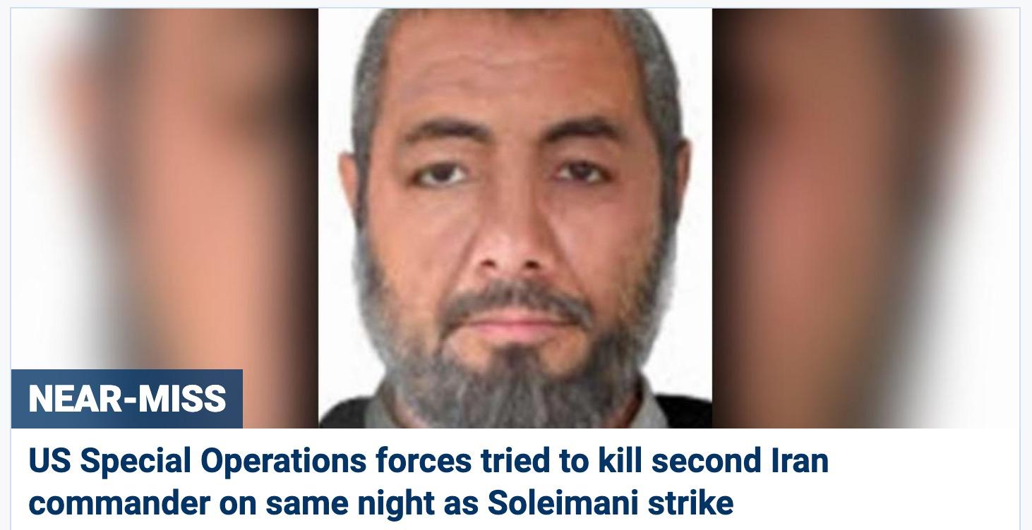 """福克斯消休报道,就在空袭杀物化伊朗""""圣城旅""""前指挥官苏莱曼尼的当晚,美军还曾试图在也门刺杀另一位伊朗革命卫队高级将领。福克斯消休截图"""