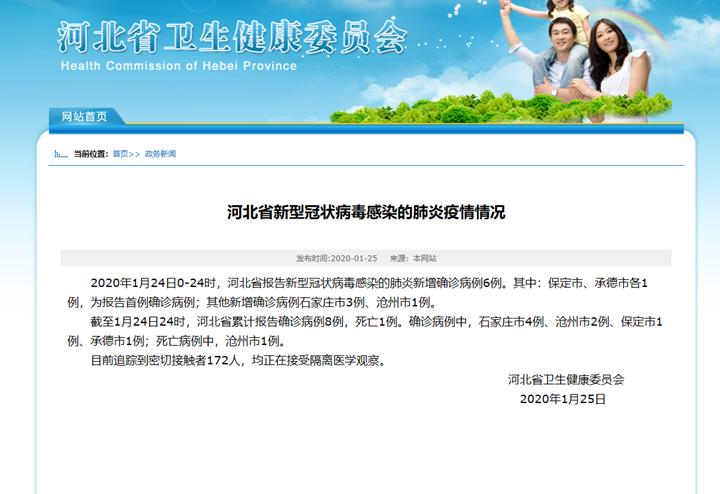 河北省新增6例确诊新型冠状病毒感染的肺炎病例