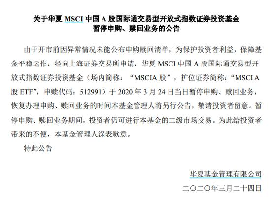 上交所今日暂停华夏MSCI A股ETF申购赎回