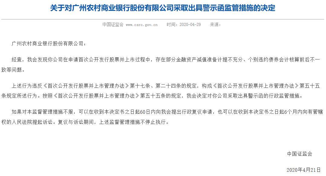 广州农商银行回A生波折 资产减值计提不充分被出具警示函