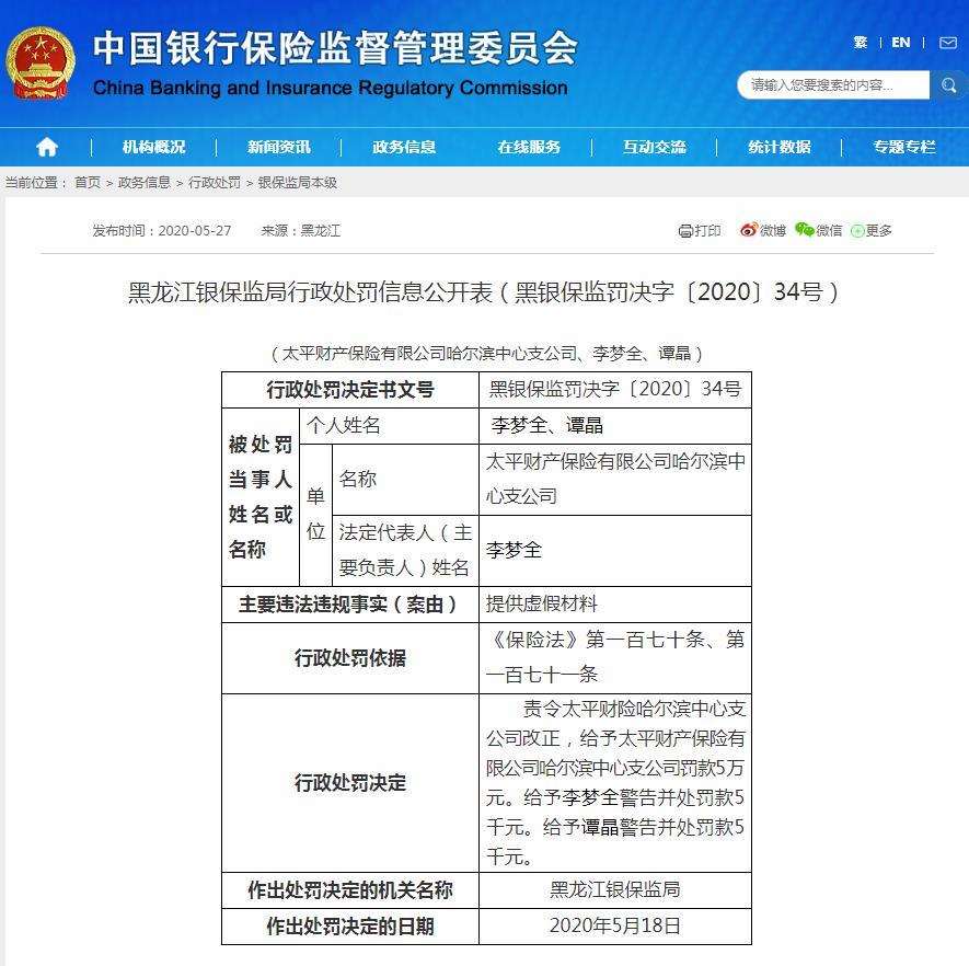 太平财险哈尔滨中支提供虚假材料 合计被罚6万元