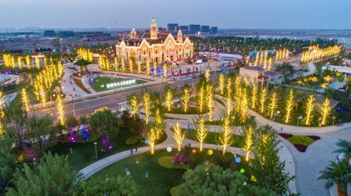 鸟瞰滨海恒大文化旅游城实景示范区