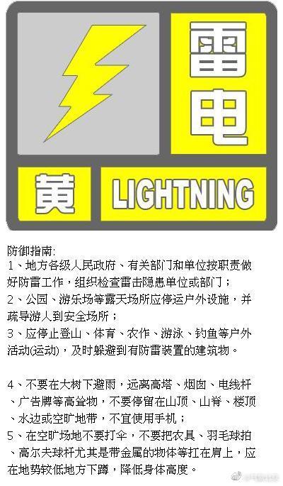 北京发布雷电黄色预警:局地短时雨强较大 并伴有大风
