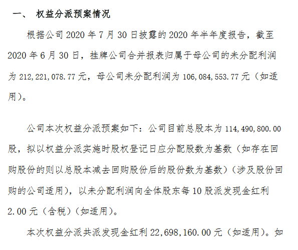 精选层首份分红预案出炉:龙泰家居拟每10股派2元共派现2270万元