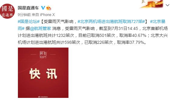 强降雨来袭!北京发布雷电、暴雨黄色预警:两机场进出港航班取消727架、排水集团启动防汛一级响应