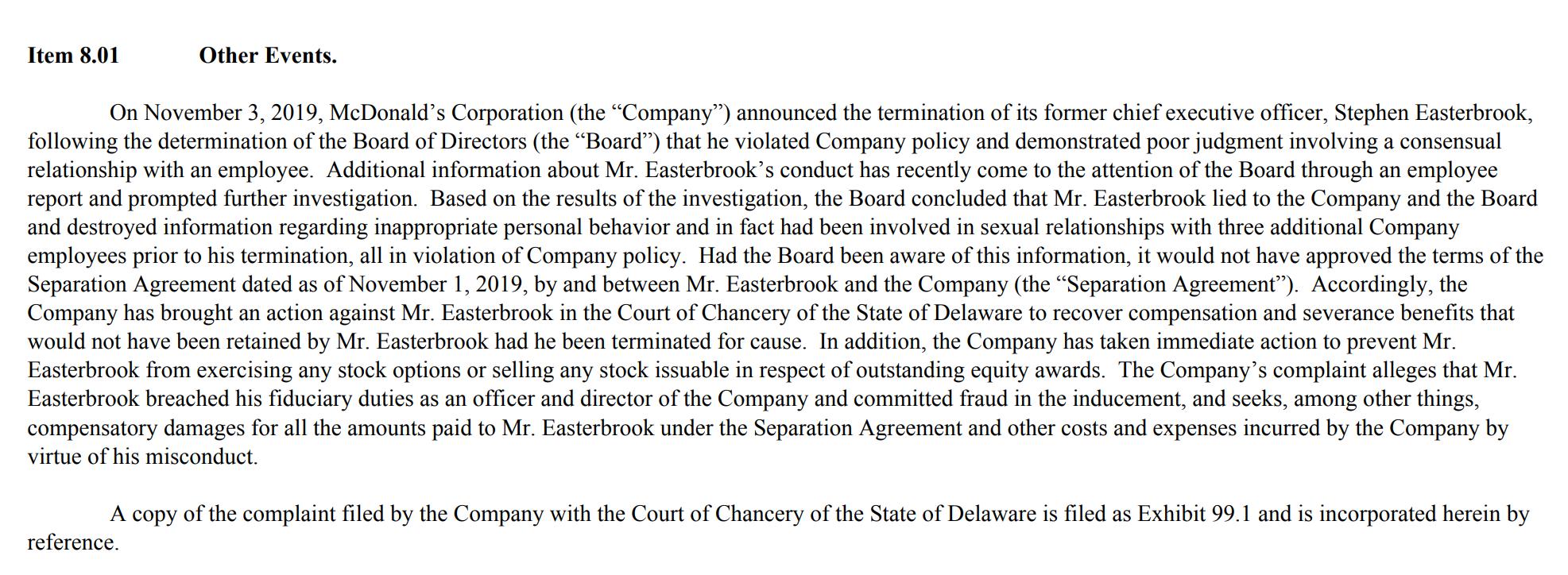 麦当劳起诉前CEO欲讨回4000万美元离职补偿 涉嫌与多名员工有染并欺骗董事会