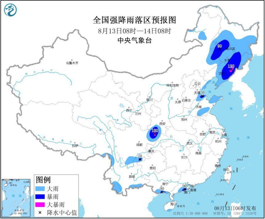 暴雨黄色预警:吉林、辽宁、四川局地有大暴雨