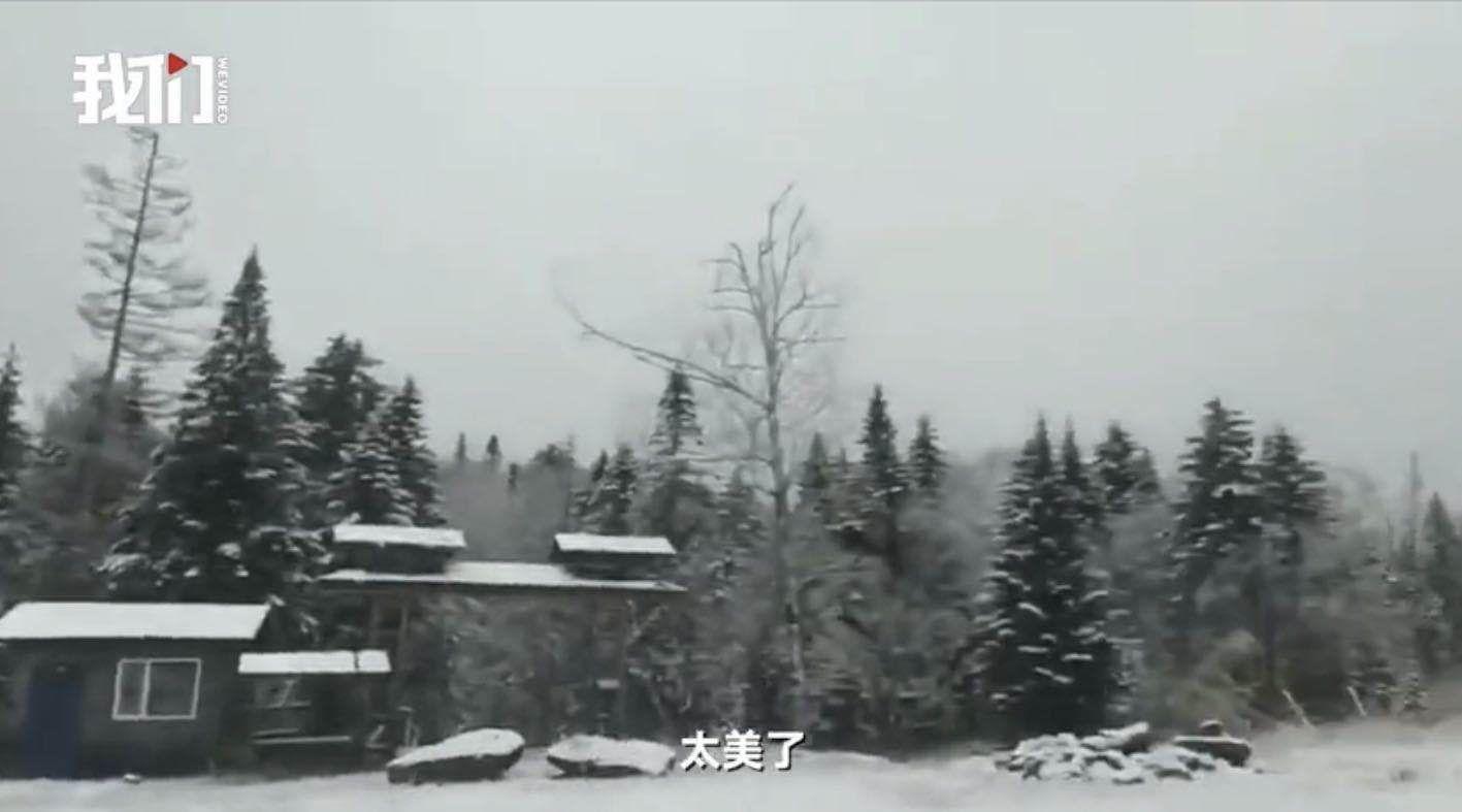 黑龙江雪乡等景区迎来入秋首场降雪,游客:被我们有福的人赶上了