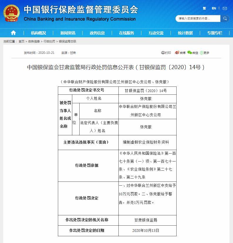 中华联合财险被罚10万元:编制虚假农业保险财务资料