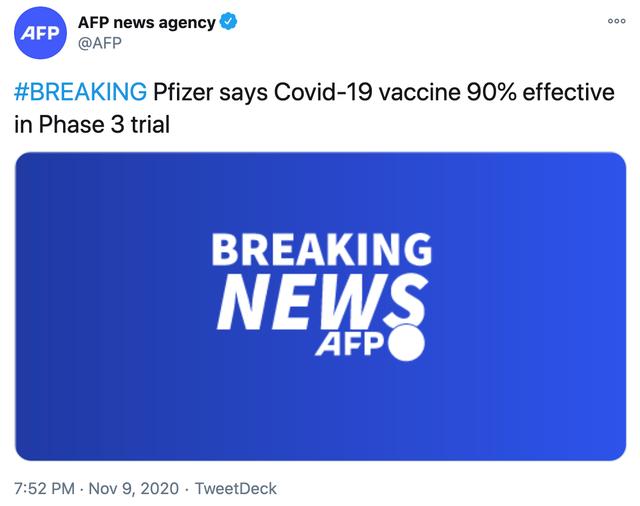 辉瑞称研制的新冠疫苗阻止了90%的新冠感染,股价盘前大涨13%