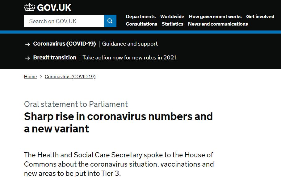 """英国确认新冠病毒""""新变种"""" 伦敦采取最高防疫等级应对感染率激增"""