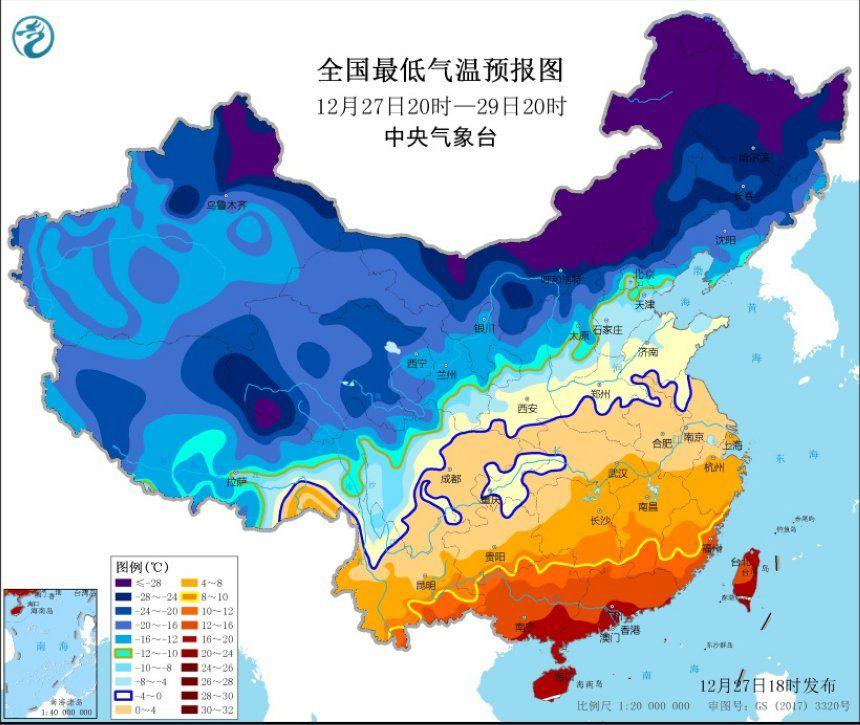 寒潮黄色预警继续发布:局地降温幅度可达16℃以上