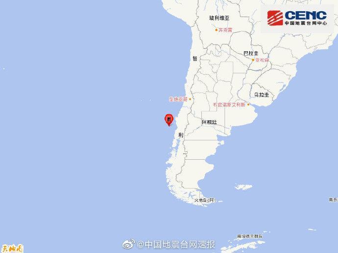 智利中部沿岸近海发生6.7级地震 震源深度10千米
