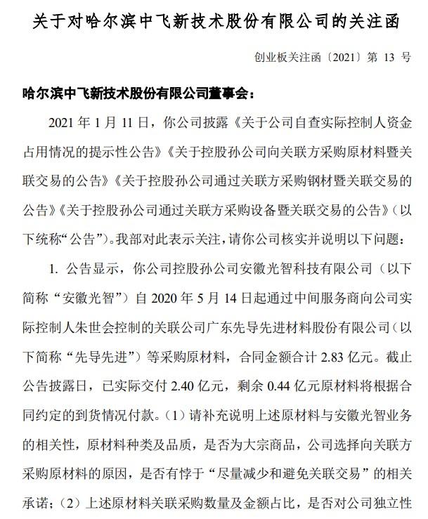 实控人关联方违规占用8.31亿资金,中飞股份被采取监管措施!股价七天跌近50%