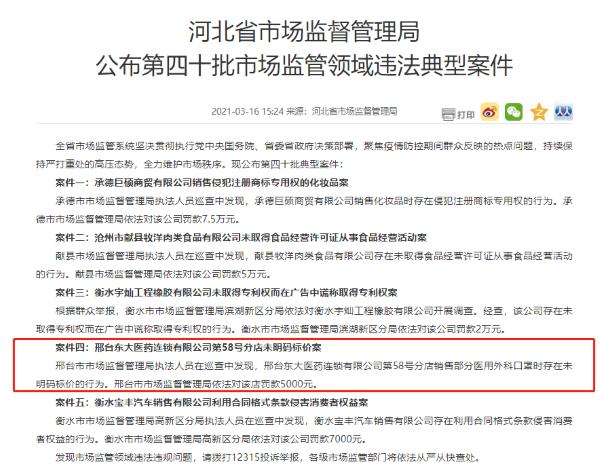 """邢台东大医药一分店""""未明码标价""""被罚"""