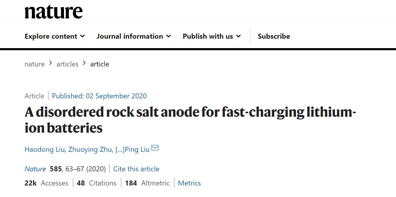 美科学家研发新型岩盐阳极 可使锂离子电池充电更快更安全