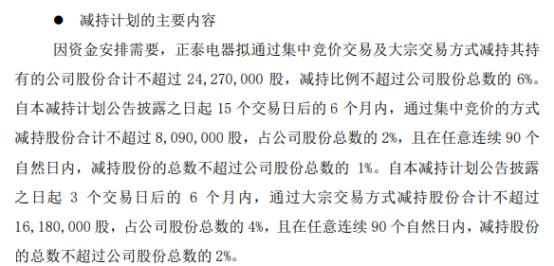 中国电研股东正泰电器拟减持不超2427万股公司股份上半年公司净利1.57亿